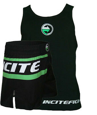 Incites Hybrid MMA Mid thigh Short, FREE Training Singlet. Matching colour logo
