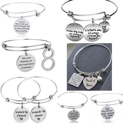 Sisters Best Friends Charm Bracelet Bangle Silver Jewelry Family Gifts Christmas