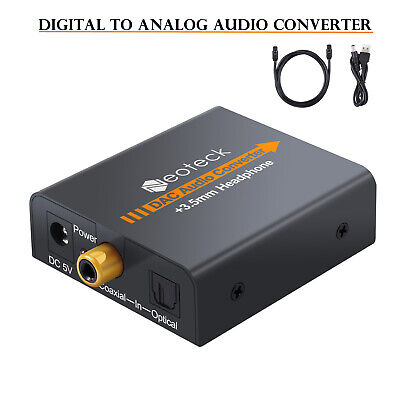 Digital to Analog Analogue Audio Converter Coax Coaxial Optical Toslink RCA R/L
