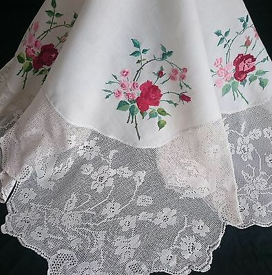 Exquisite Vtg Hand Embroidered Linen Tablecloth ~ Mary Card Wild Roses Pigeon