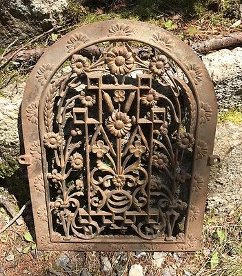 Antique Iron Arch Top Heat Grate Wall Register With Floral Design