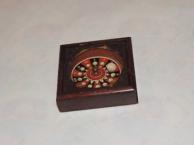 Antique Roulette Wheel Tin Wood Toy Top Germany  (h625