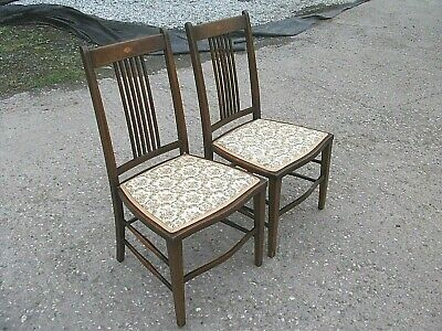Pair Antique Mahogany Inlaid Finish Bedroom Kitchen Chairs Chippendale Style 2