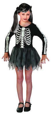 Girls Skeleton Zombie Costume Tutu Fancy Dress Halloween Outfit 4-6-8-10 New