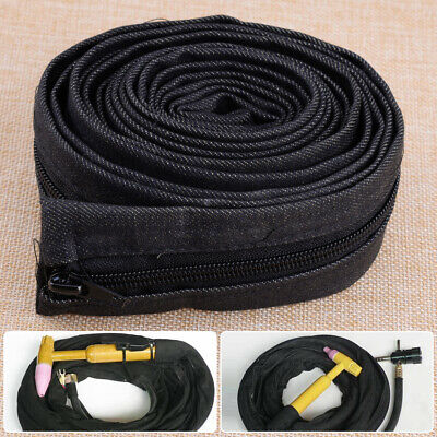 Black Cloth TIG Torch Welding Gun Power Cable Cover Cowboy Zipper Jacket 3.6M