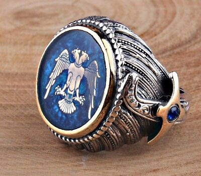 Turkish Handmade  925 Sterling Silver Sapphire Mens Ring Sz 11 Free Resize