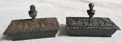 Pr Cast Iron Match Safe Figural Busts Schiller&Goethe Old Vtg Antique 1800s Box