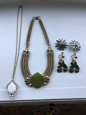 Lot of Vintage Art Deco Style Jewelry Earrings & Necklace - Sarah Cov / FulFord