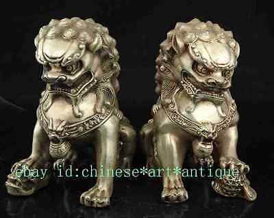 Rare a pair old  Chinese Silver Guardian Lion Foo Fu Dog Statue  LL195