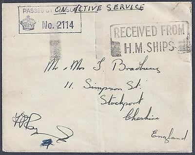UK GB PALESTINE 1940s CENSORED ON ACTIVE SERVICE FROM HAIFA RECEIVED FROM HM SHI