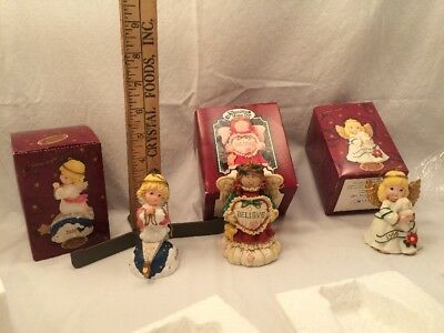 The San Francisco Music Box Company Angels Ornaments Lot 3 In Boxes Silent Night