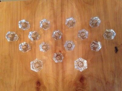 16 Vintage / Antique Glass Drawer Knobs Pulls in 2 Sizes All 6 sided 2 Lg 14 Sm