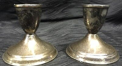"""Vintage Crosby Sterling Silver Candle Stick Holders Weighted 3"""" X 3"""" Atq"""