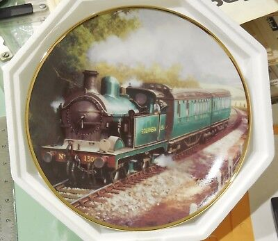 """Franklin Mint """"The Southern 1300"""" collectors plate Steam Locomotive With Train"""