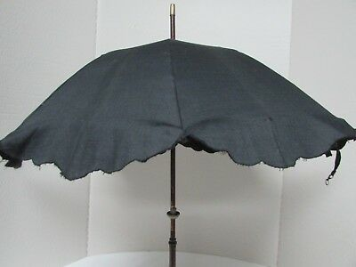 Antique Parasol Small Black Mourning Late 1800's Carved Wood Handle