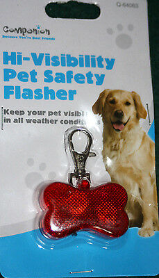 Hi visibility LED Light Up Pet Safety Flasher Collar Clip for Dogs Brand New