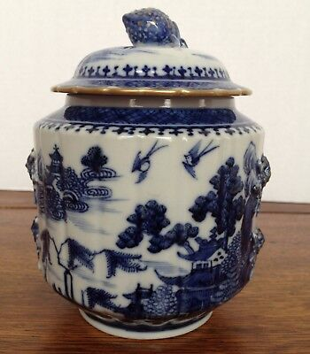 Antique Chinese Blue & White Nanking Pattern Hand Painted Sugar Bowl w/ Lid