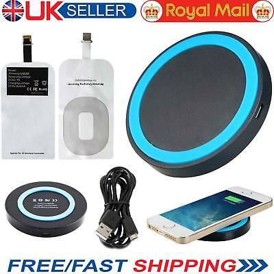 Fast Wireless Charger Qi Charging Pad With Receiver for iPhone 6 6 plus 5 5S UK