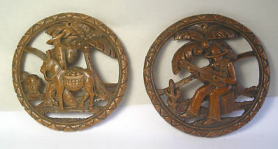 A Pair of Antique Pressed Pulp Mexican Motif Wall Art A2