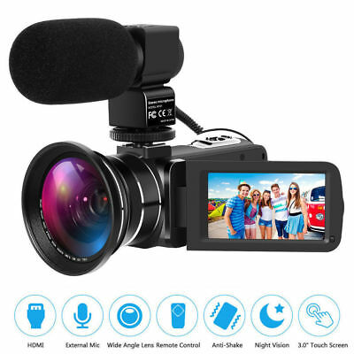 Full HD 1080P Digital Camera 30FPS 24MP Video Camcorder with Wide Angle Lens Mic