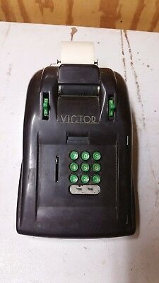 Antique VICTOR Bakelite Adding Machine Mechanical Vintage Green Brown VTG