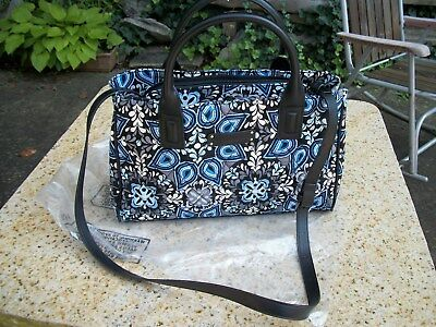 Nwt Vera Bradley Blue Sierra Triple Compartment Satchel Crossbody Shoulder $98