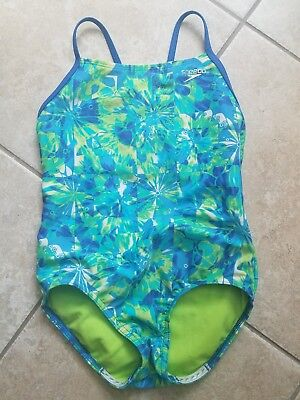 Speedo Girl's Flyback Green Teal Blue One Piece Swimsuit competition 26 10