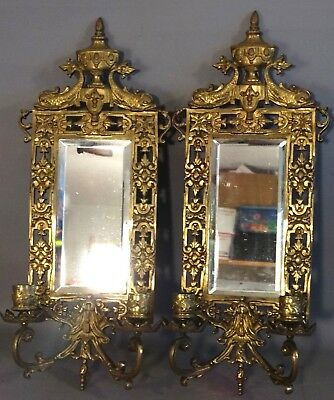 (2) 19thC Antique FRENCH VICTORIAN Era BRONZED DOLPHIN Bevel MIRROR Old SCONCES