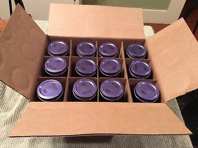 Case of 12 PINT DEEP PURPLE BALL MASON / CANNING GLASS JARS - W/ rings & centers