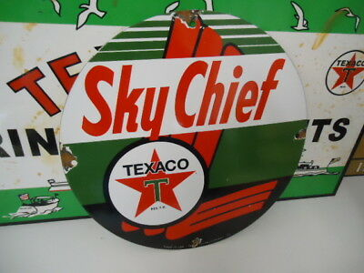 Old Used Texaco Sky Chief Porcelain Metal Gas Oil Sign! Pump Plate Dated 1939