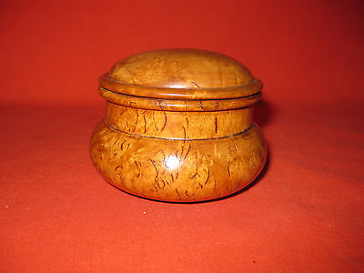 Beautiful Antique Round Turned Burr Walnut Snuff / Spice / Trinket pot