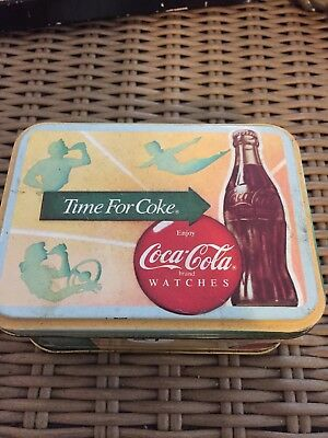 1988 Coca Cola Coke Tin Wrist Watch Leather Band Aviator Lady Water Resistant