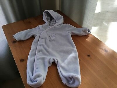Baby Fleece Bunting, Light Blue with hood, size 0-3 months