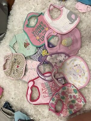 LOT Of 11 baby Girl Bibs