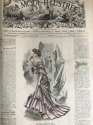 French MODE ILLUSTREE SEWING PATTERN January 4,1903 MASQUERADE ; BALL GOWN