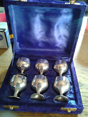 Vintage Set of 6 SILVER PLATED GOBLETS in their Original Blue Velvet Box
