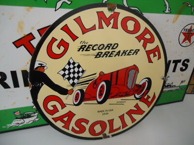Old Used Gilmore The Record Breaker Porcelain Gas Sign! Pump Plate Dated 1939
