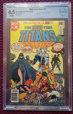 1980 NEW TEEN TITANS # 2 CBCS 8.5 VF+ 1st Deathstroke! White pages! (not CGC)