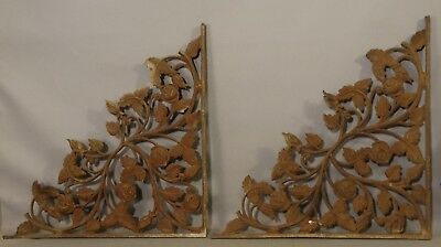 2) LG Antique VICTORIAN Cast Iron PORCH CORBEL Old ARCHITECTURAL SALVAGE Bracket