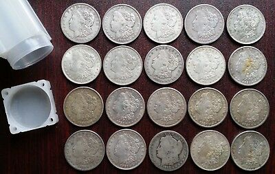 1921 Circulated Morgan Dollar Roll (20 coins), 90% silver, FREE SHIPPING!!