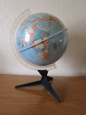 GLOBE TERRESTRE MAPPEMONDE VINTAGE PIEDS TRIPODE RICO ITALY DES ANNEES 60's