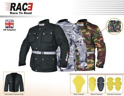 RAC3 Men's Motorcycle Camouflage Jacket Waterproof Textile Cordura CE Armoured