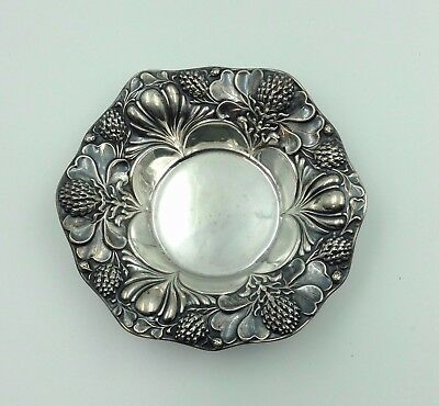 "Art Nouveau c1900 GORHAM STERLING A2569 Embossed Thistle Motif 5 1/2"" Bowl"