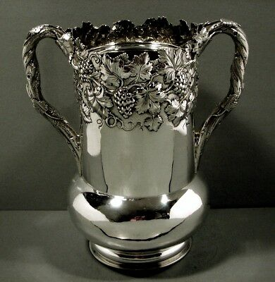 Kirk Silver Wine Cooler     c1880    HAND CRAFTED GRAPE & LEAF    73 OZ.
