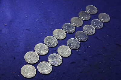 17 US Silver Peace Dollars, Various dates, Circulated condition.