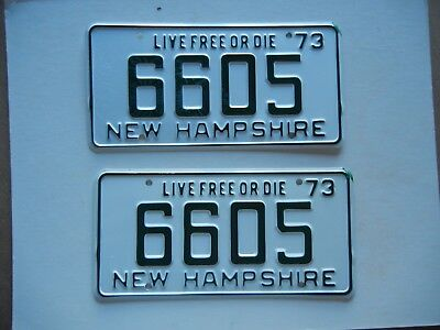 Pair 1973 NH New Hampshire License Plate