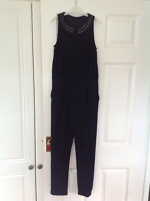Next girls black jumpsuit age 11 years in excellent condition - beautiful!