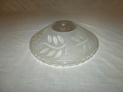 ANTIQUE/VINTAGE Clear Glossy Satin Glass ART DECO Ceiling Light Fixture SHADE
