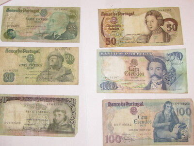 6 Banknotes from Portugal