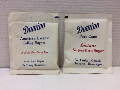 VINTAGE 1960s 1970s Lot of 2 Domino Sugar Individual Packets Collectible UNUSED